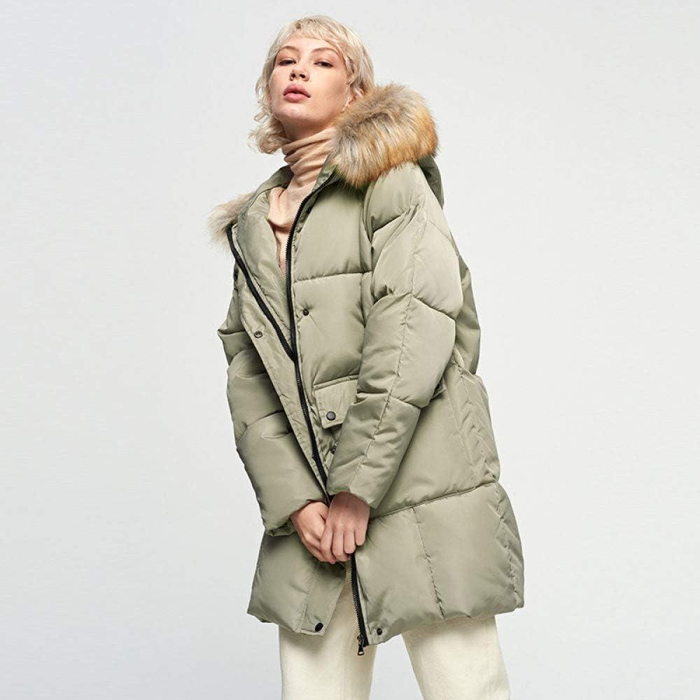 EIJFKNC Giacche Giù Parka di Moda Giacca Invernale da Donna a Sezione Lunga più Velluto con Cappuccio Parka Caldo Giacca da Donna a Cappotto Lungo Army Green