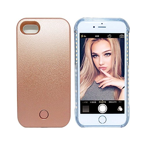 Cutelook 7 Illed iPhone 7 Illuminated Case, New LED Light Up Luminous (Dimmable) Cell Phone Case by Readgo, Great for Selfies Facetime Rechargeable Flashlight - Rose Gold