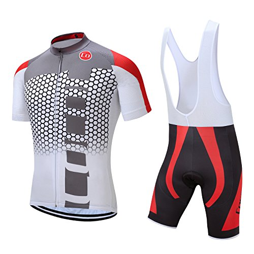 Pro Team Summer Men's Cycling Jersey Set Bib Shorts with 3D Padded Cycling Kits (Chest 40-42 Waist 32-34''- Large, Black&Red) (Jersey Sports Cycling Team)