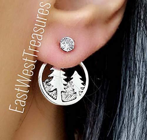 Pinecone Mountain (Mountains pinecone earrings for women teens- Outdoors forest geometri ear jacket earrings)