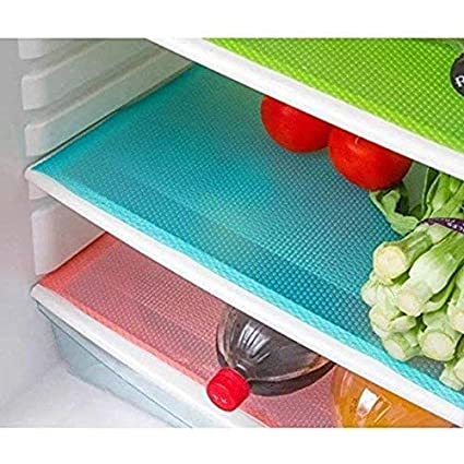 Yellow Weaves PVC 6 Pieces Refrigerator Mats (Mulitcolor,12 X 17 Inches)