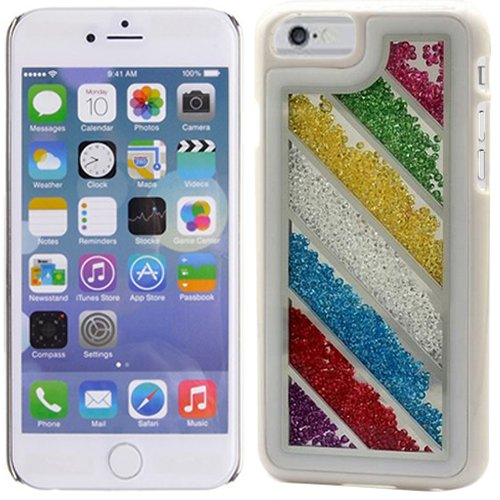 Rainbow Stripes Blue Pink Red Bling Rhinestone Crystal Shaker Case Cover Diamond For Apple iPhone 6/6S Plus with Free Pouch