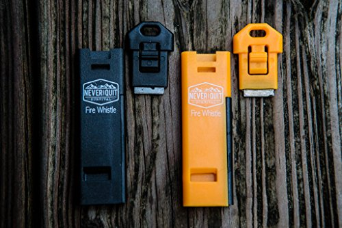 Survival Whistle Fire Starter (2 pack) Fire Whistle For Hiking Rescue Emergency Fire Starter Kits Hunting Safety Boating EDC Pealess Whistle With Ferro Rod