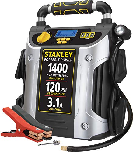 STANLEY J7C09D Digital Portable Power Station Jump Starter: 1400/700 Instant Amps, 120 PSI Air Compressor, 3.1A USB Ports, Battery Clamps