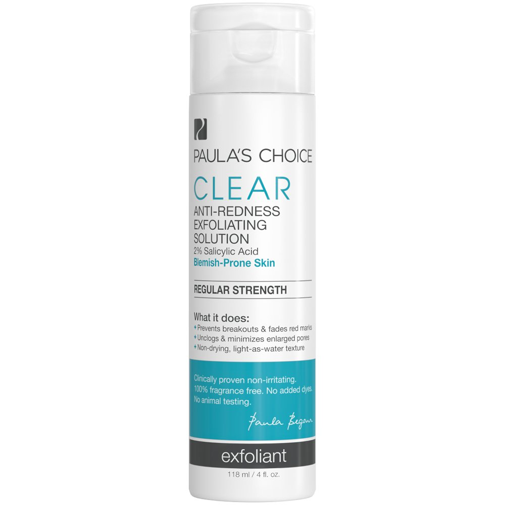 Paula's Choice-CLEAR Regular Strength Anti-Redness Exfoliating Solution with 2% BHA Salicylic Acid, 4 Ounce Bottle Non-Abrasive Face Exfoliator