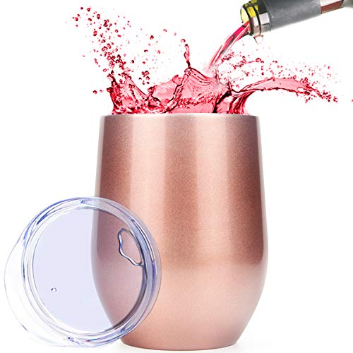 Wine Tumbler, Soft Digits Stainless Steel Stemless Wine Glass Tumbler, 12 oz Double Wall Vacuum Insulated Travel Tumbler Cup for Coffee, Wine, Cocktails, Ice Cream, Champagne - Rose Gold by Soft Digits (Image #7)
