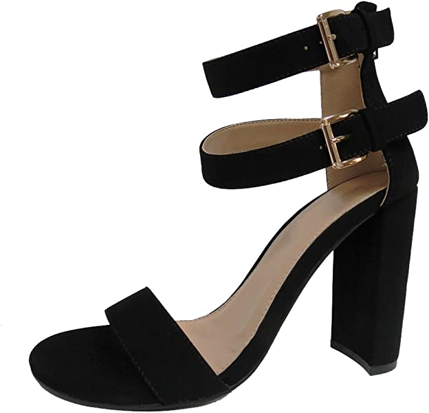 c5df8159681 Cambridge Select Women s Open Toe Single Band Buckled Double Ankle Strap  Chunky Block Heel Sandal (