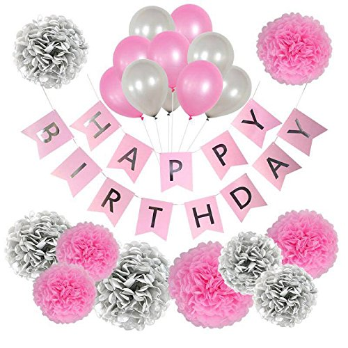 Birthday Decorations for Women and Girls, Pink and Silver Birthday Decorations, Happy Birthday Banner, Birthday Girl Banner Set, Teen, 1st Birthday, Kids Birthday Party Supplies, Balloons, Pom Poms -