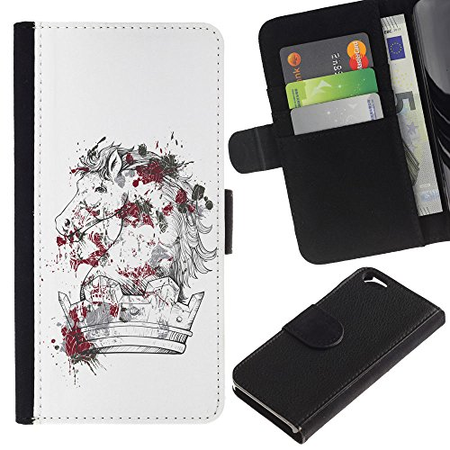EuroCase - Apple Iphone 6 4.7 - The Majestic Horse - Cuir PU Coverture Shell Armure Coque Coq Cas Etui Housse Case Cover
