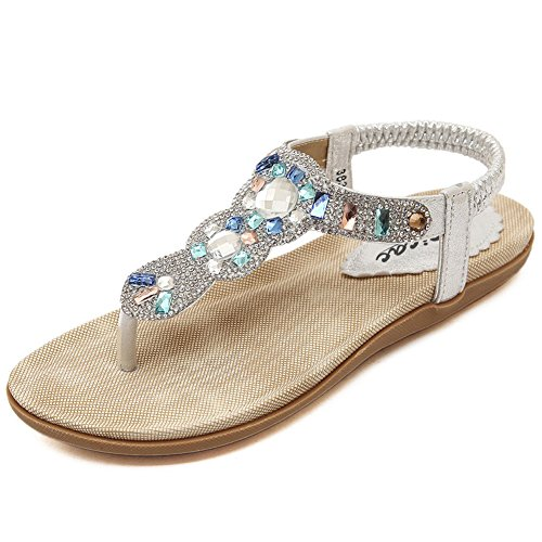 Rhinestone Sandals (Women's Bohemia Slingback T-Strap Shiny Beads & Rhinestone Ankle Strap Thong Sandals (8, Silver))