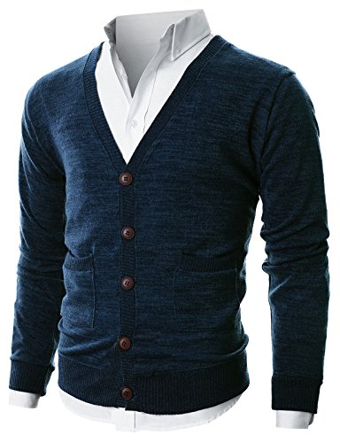 Ohoo Mens Slim Fit Ribbed Knit Cardigan With Pockets/DCC023-NAVY-M