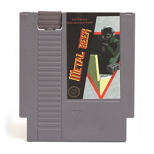 Metal Video Game (Concealable NES Entertainment Flask – Looks Like a Retro Nintendo Video Game Cartridge – But It's a Flask with a Hilarious Label (Metal Beer - Metal Gear))