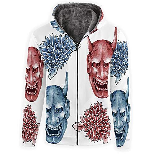 Mens Slim Fit Long Sleeve-Kabuki Mask Decoration Zip-up Hoodie with Kanga Pocket