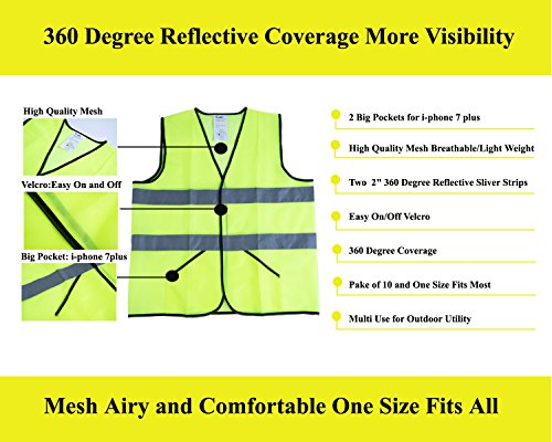 CIMC Yellow Reflective Safety Vest with Pockets, 10 Pack, Bright Construction Vest with Reflective Strips,Made from Breathable and Neon Yellow Mesh Fabric,High Visibility Vest for Working Outdoor by CIMC SAFETY (Image #3)