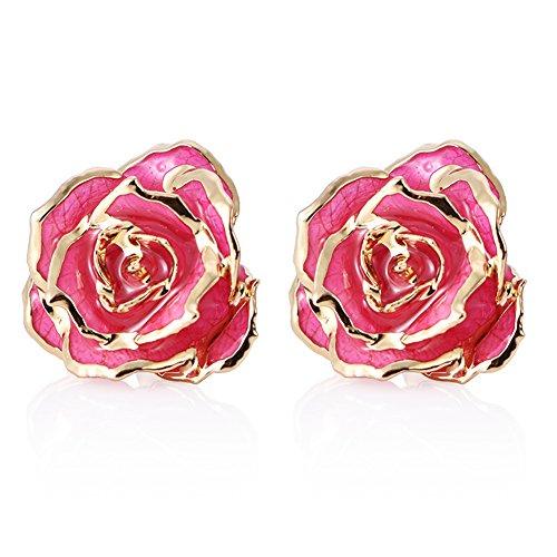 (ZJchao Women Flower Stud Earrings Dipped 24K Gold Earring Pins Birthday Gift for Her (rose red))
