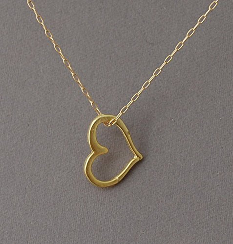 lace also in Sterling Silver (Gold Open Heart Necklace)