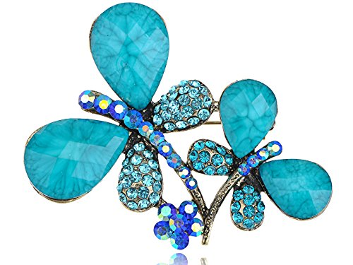 (Alilang Turquoise Beaded Metallic Tone Blue Double Couple Dragonfly Costume Twins)