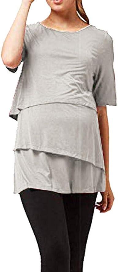 Vestidos Casuales para Mujer Camisa De Maternidad Mujeres Embarazadas De Manga Corta Blusa Sólida Tops Casual Lactancia Materna Nusring Ropa De Maternidad Verano: Amazon.es: Ropa y accesorios