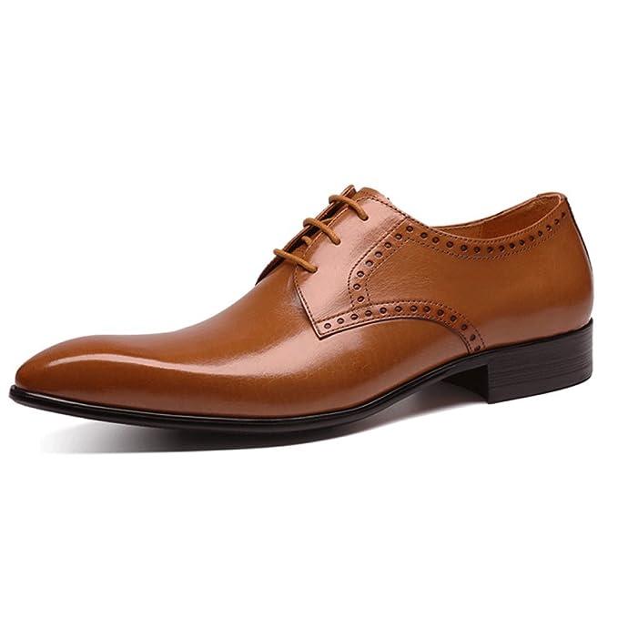 Herren Klassisch Derby Formale Echtes Leder Schnürschuhe Brogues Business  Schuhe Atmungs Hochzeit Spitz Uniform Sandalen, 5da49c2e41