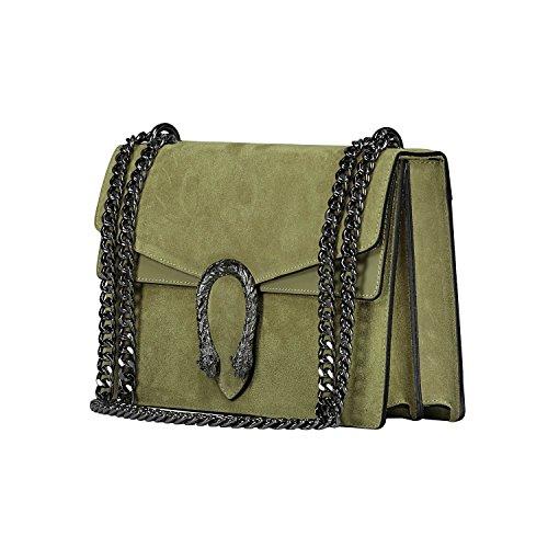Khaki In Tracola Italy A Camoscio Spalla Borsa myitalianbag Made Pochette Liscia E Rachel Grande Accessori Metallo Catena Pelle XwaRqz