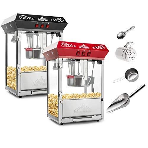 - Olde Midway Bar Style Popcorn Machine Maker Popper with 8-Ounce Kettle - Red