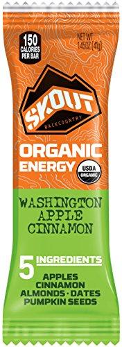 SKOUT BACKCOUNTRY Organic Energy Bars - Washington Apple Cinnamon - Vegan Snacks - Plant Based & Paleo Bars - Non-GMO - Gluten Free, Dairy Free, Soy Free - No Sugar Added - 1.45 oz (12 Count) (Bar Apple Organic)