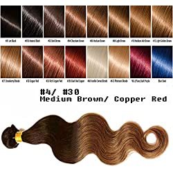 """uSTAR 6A ombre Brazilian Human Hair BODY WAVE Bundle Best Quality Hair Weave Extension, 100% Human Hair GUARANTEED beautiful Dip Dyed Ombre Two-Tone Color #4/#30 - 20"""""""