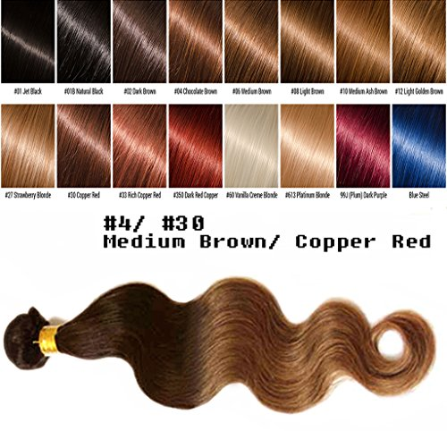 uSTAR 6A ombre Brazilian Human Hair BODY WAVE Bundle Best Quality Hair Weave Extension, 100% Human Hair GUARANTEED beautiful Dip Dyed Ombre Two-Tone Color #4/#30 - 26