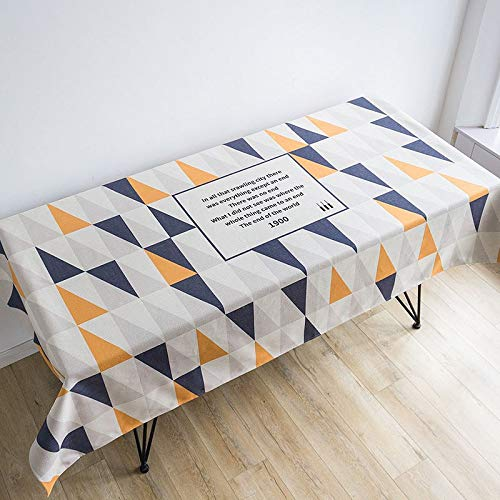 Simple Nordic Style Geometric Plaid Elk Pattern Tablecloth Thickening Linen/Cotton Blended Tea Table Cloth Camping Table Cloth  B B07RTTHWVP