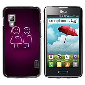 Paccase / SLIM PC / Aliminium Casa Carcasa Funda Case Cover para - Couples Love - LG Optimus L5 II Dual E455 E460