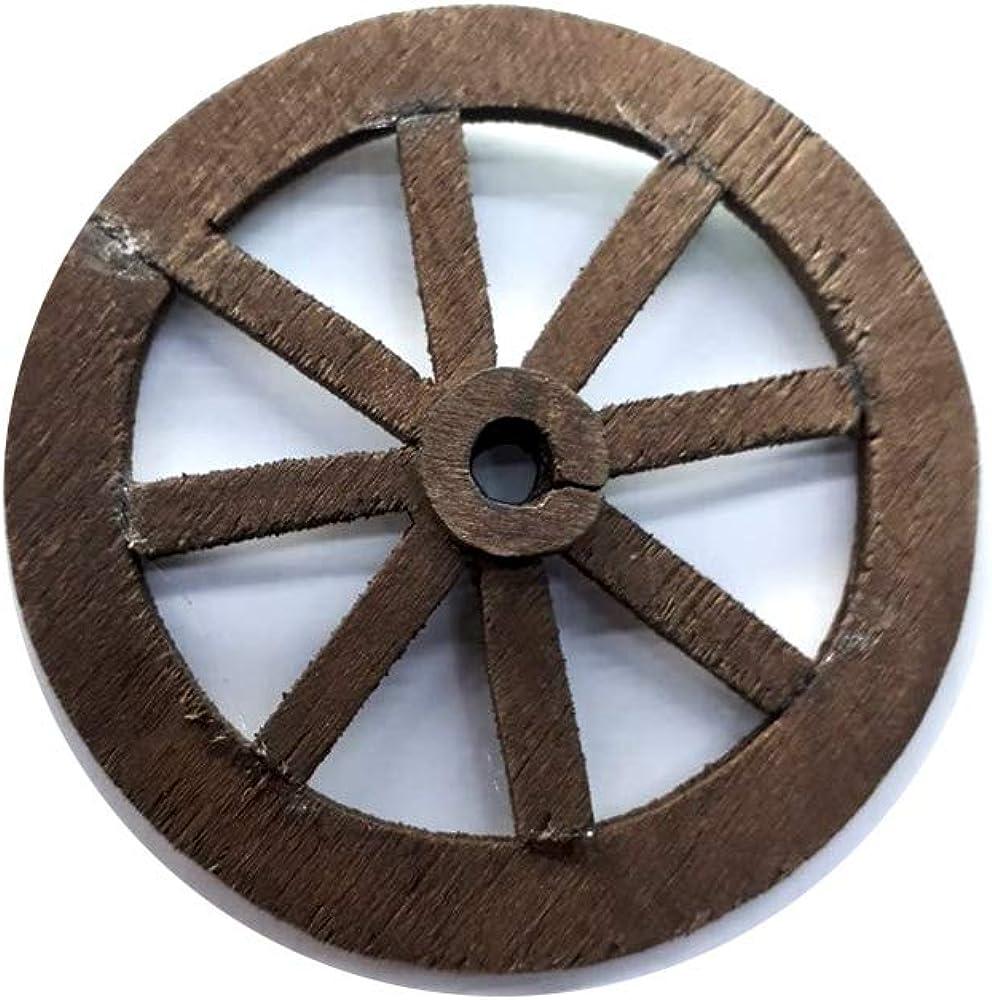 Generico 1 Ruota per carretto Legno 4 cm di Diametro per PASTORI PRESEPE Artigianali Gia Omaggio Portachiavi AMULETO