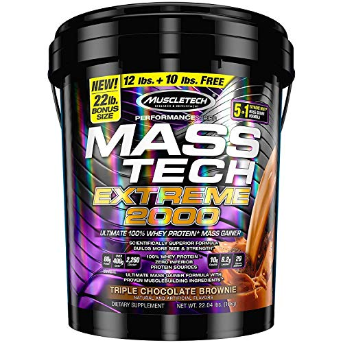 MuscleTech Mass Tech Extreme Mass Gainer Whey Protein Powder, Build Muscle Size & Strength with High-Density Clean Calories, Triple Chocolate Brownie, 22lbs (10kg) (Best Mass Gainer Ever)