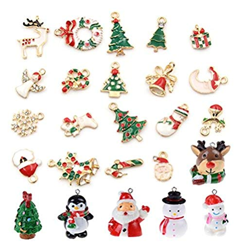 Christmas Pendants Charms for Bracelet Necklace Jewelry Making, Birthday, Christmas Day, Thanksgiving Day Gift for Children, Pack of 25 (Style 2)