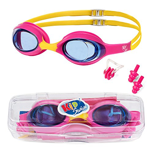 KidSwim Swimming Goggles For Children (Age 4-12) Perfect Fit, No Leak Waterproof Swim Goggles With Anti Fog Lens And Soft Silicone (Silicone Swim Goggle Straps)