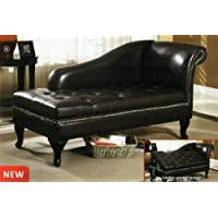 Lakeport contemporary style black leather like vinyl tufted seat chaise lounger with storage