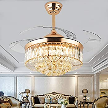 Moooni Dimmable Fandelier Crystal Ceiling Fans with Lights