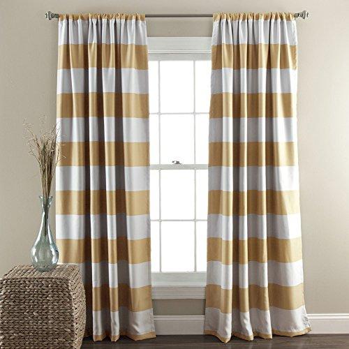"Lush Decor Stripe Blackout Window Curtain Panel Pair, 84"" x"