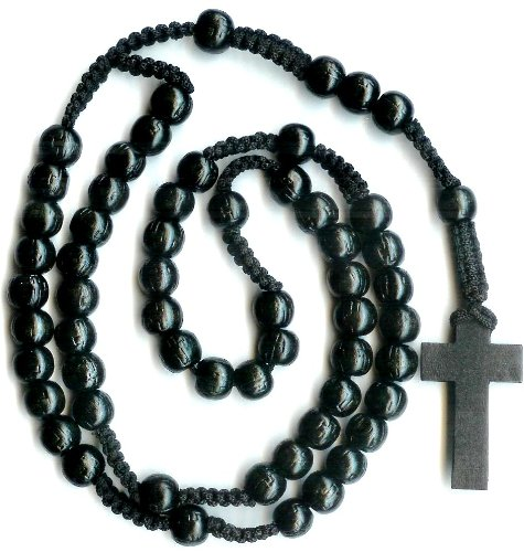 Black Rosary Necklace - Black Wooden (Handcrafted Hemp Necklace)