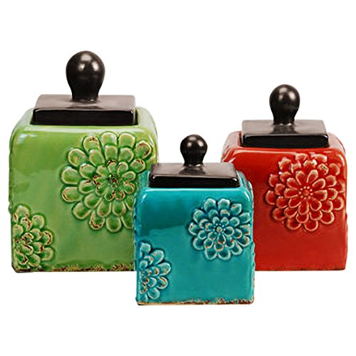 3 Piece Ceramic Antique Square Canister Set - Green 3 Piece Canister