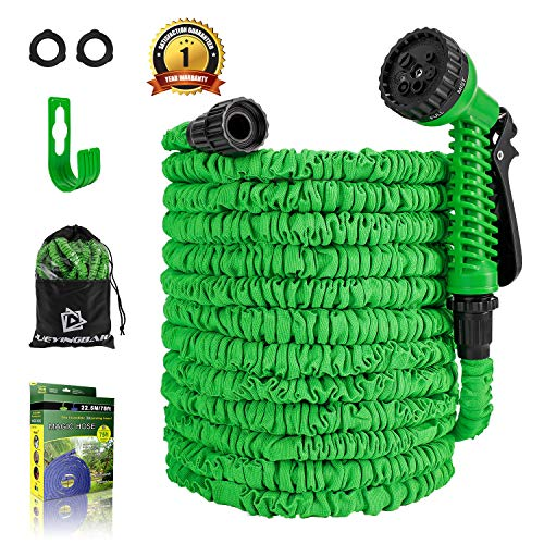 Garden Hose – 75 FT Expandable Water Hose – Lightweight Triple Latex Core & Extra Strength Fabric Water Pipe with 3/4″ Solid Fittings,Storage Bag,Hanger for Gardening Lawn Car Pet Washing (Green/Blue)