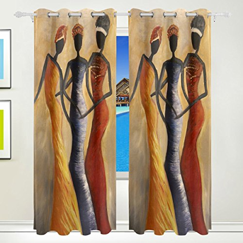 - Home Care Ethel Ernest Amazing African Women Painting Window Blackout Curtains With Grommet, 55W x 84L Inch, Darkening Blind Insulated Sun-proof Curtains for Bedroom,Living Room,Including 2 Panels