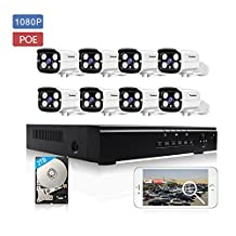 KORANG 2.0 MegapiexeL (1920 x 1080) 8CH POE Video Security Systems (NVR Kit) with 8 1080P CCTV outdoor waterproof surveillance IP cameras, 30M Night Vision, Onvif, 2TB HDD Pre-installed
