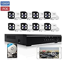KORANG 8CH POE NVR Kit 1080P Security IP Camera System Surveillance Network Camera System Night Vision with 8x2.0 Megapiexel Outdoor Waterproof IP Cameras 2TB HDD Pre-installed