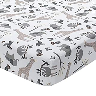 Lambs & Ivy Baby Jungle Animals White/Gray/Taupe Cotton Fitted Crib Sheet