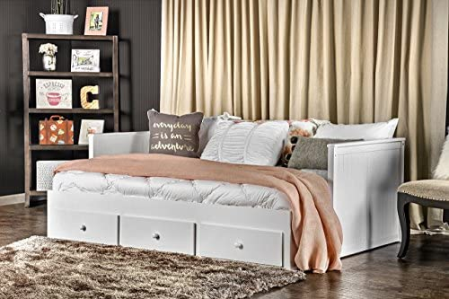 Furniture of America Medina Cottage Style Storage Daybed, White