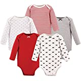 Hudson Baby Baby Long Sleeve Bodysuit 5 Pack, Bows, 0-3 Months