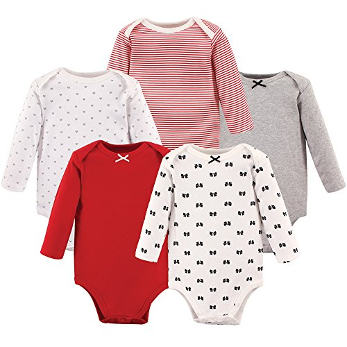 Hudson Baby Unisex Baby Long Sleeve Cotton Bodysuits, Bows Long Sleeve 5 Pack, 6-9 Months (9M)