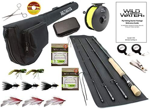 Wild Water Fly Fishing 9 Foot, 4-Piece, 9 10 Weight Fly Rod Deluxe Complete Fly Fishing Rod and Reel Combo Starter Package with Freshwater Flies