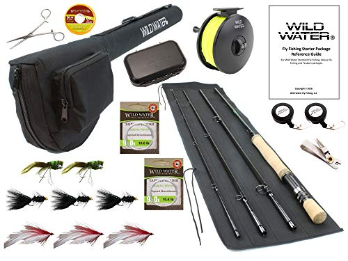 Wild Water Fly Fishing 9 Foot, 4-Piece, 9/10 Weight Fly Rod Deluxe Complete Fly Fishing Rod and Reel Combo Starter Package with Freshwater Flies