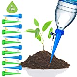 SIKSIN Plant Waterer Self Watering Devices, Vacation Potted Plant Watering Spikes Automatic Drip Irrigation Water Stakes System with Control Valve Switch for Garden Plants Indoor & Outdoor (12packs)